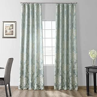JQCH-20122053-84 Magdelena Faux Silk Jacquard Curtain,Steel Blue & Silver,50 X 84