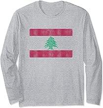 Retro Lebanese Flag Of Lebanon Souvenir Gift Men Women Long Sleeve T-Shirt