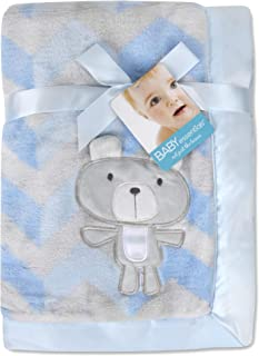Baby Essentials 30x40 Fleece Baby Blanket with Satin Trim for Boys, Girls, and Unknown Gender Baby (Blue Chevron)
