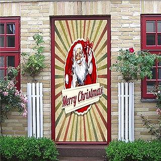 AKSBHC adesivi per porte 3d carta autoadesiva per 95x215cm Buone vacanze per Babbo Natale Adesivi decorativi per porte vin...