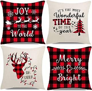 PANDICORN Set of 4 Christmas Pillows Covers for Home Christmas Décor, Christmas Trees Light Sleigh Santa Reindeer, Red and Black Buffalo Plaid Check Throw Pillow Cases, 18x18