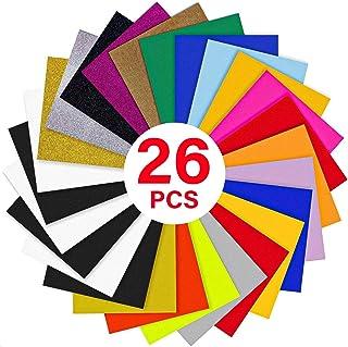 "YRYM HT HTV Heat Transfer Vinyl Bundle : 26 Pack 12"" x 10"" Sheets Iron on Vinyl,20 Assorted Colors Heat Press Vinyl for DIY Iron on Fabrics T-Shirts Heat Press Machine or Silhouette Cameo"