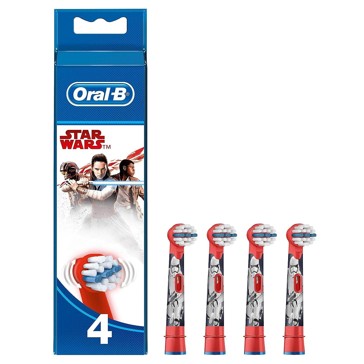 閉じ込めるいつも気難しいブラウン オーラルB 電動歯ブラシ 子供用 すみずみクリーンキッズ やわらかめ 替ブラシ(4本) レッド スターウォーズ [並行輸入品]