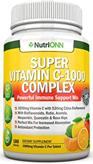 Super Vitamin C Complex - 1000Mg - 180 Tablets - with 530 mg Natural Citrus Bioflavonoids, Rose Hips, Rutin, Quercetin & H...