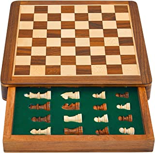 Great Birthday Gift Ideas 10 Inch Classic Wooden Chess Set With Magnetic Chess Board Handcrafted Felted Interiors For Fitted Storage Of Staunton Chess Pieces Housewarming Gifts Men Women