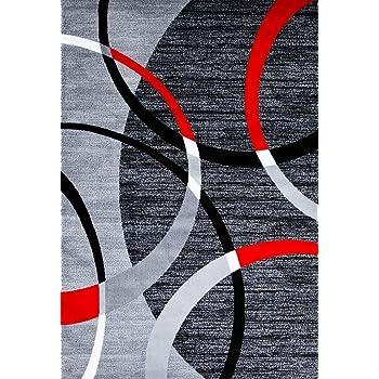 Persian-Rugs 3895 Gray Swirls 7'10 x10'6 Modern Abstract Area Rug Carpet