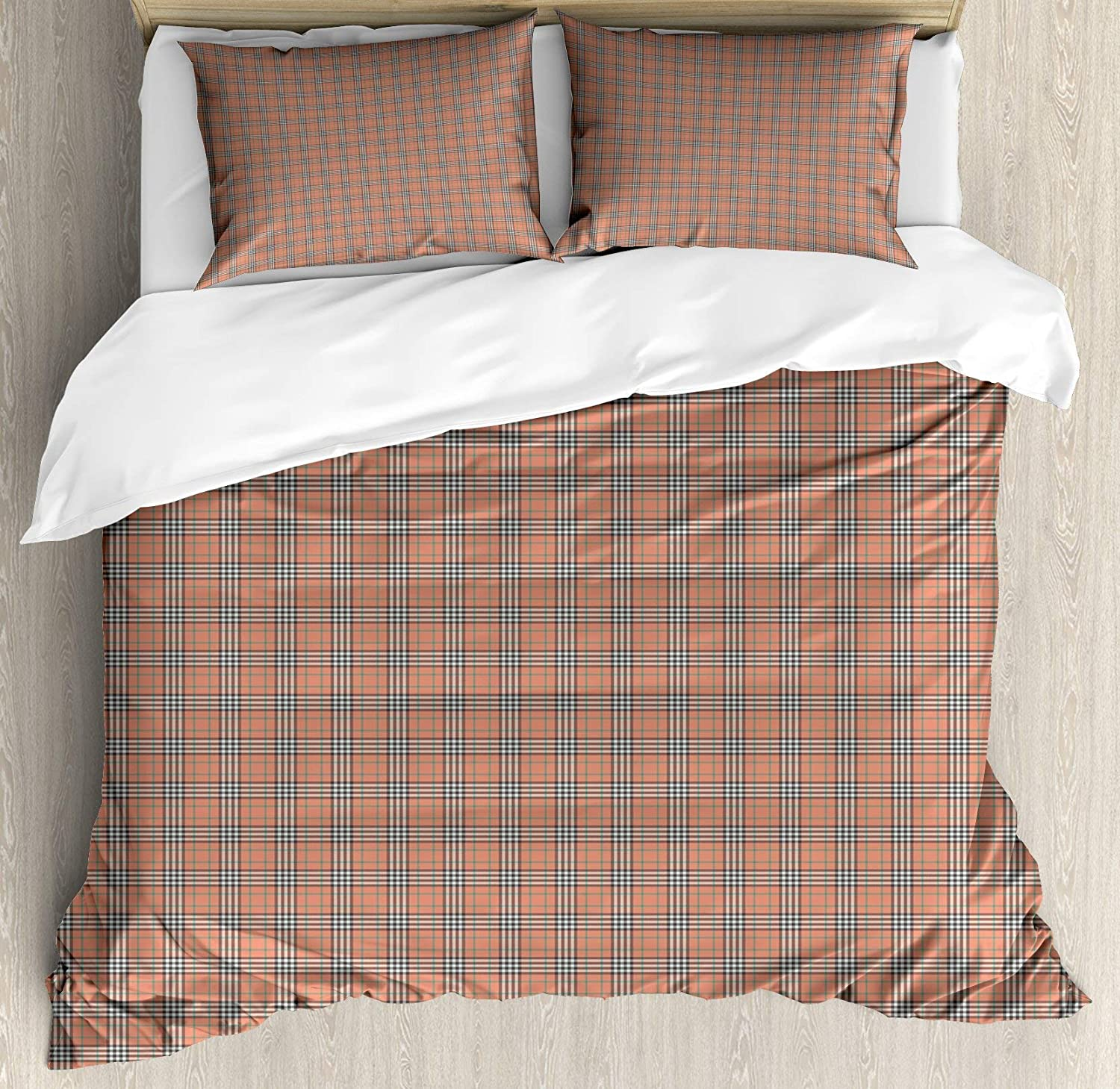 USOPHIA Plaid Full Size 4 Pieces Bed Sheets Set, Geometrical Tartan Pattern from Irish and Scottish Cultures Stripes Checks Floral Duvet Cover Set, Salmon Green Brown