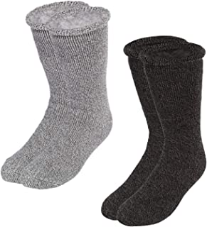 2 Pairs Warm Thermal Socks Heavy Socks - Thick Crew for Cold Weather Heated Boot Thermal Socks Pack Warm Winter Crew For Cold Weather - dark gray & light gray