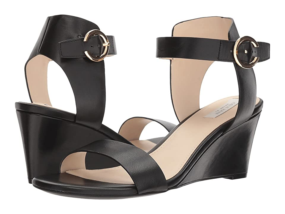 Cole Haan Rosalind Wedge Sandal (Black Leather) Women