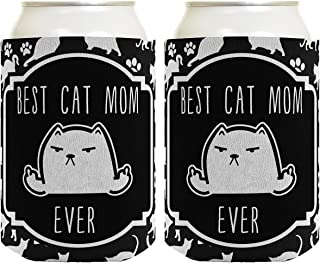 Funny Cat Gifts Best Cat Mom Ever Rude Cat Lover Gifts Cat Memes Cat Middle Finger Cat Flipping Off Crazy Cat Lady Cat Gag Gifts 2 Pack Can Coolie Drink Coolers Coolies Black