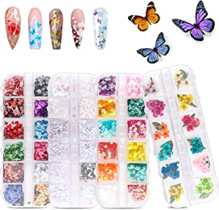 48 Colors Dried Flowers Nail Art Butterfly Glitter Flake 3D Holographic, Tufusiur Dry Flower Nails Sequins Acrylic Supplie...