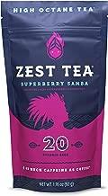 Zest Tea Energy Hot Tea, High Caffeine Blend Natural & Healthy Coffee Substitute, Perfect for Keto, 20 servings (135mg Caffeine each), Compostable Teabags (No Plastic), Superberry Samba Green Tea