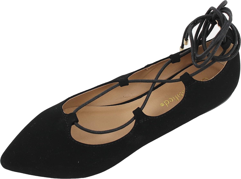 City Classified Women's Heat Pointy Toe Faux Leather Lace Up Akle Wrap Flat Sandals,Black Nubuck,6