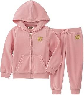 Juicy Couture 女童 2 件套,天鹅绒 粉红色 4