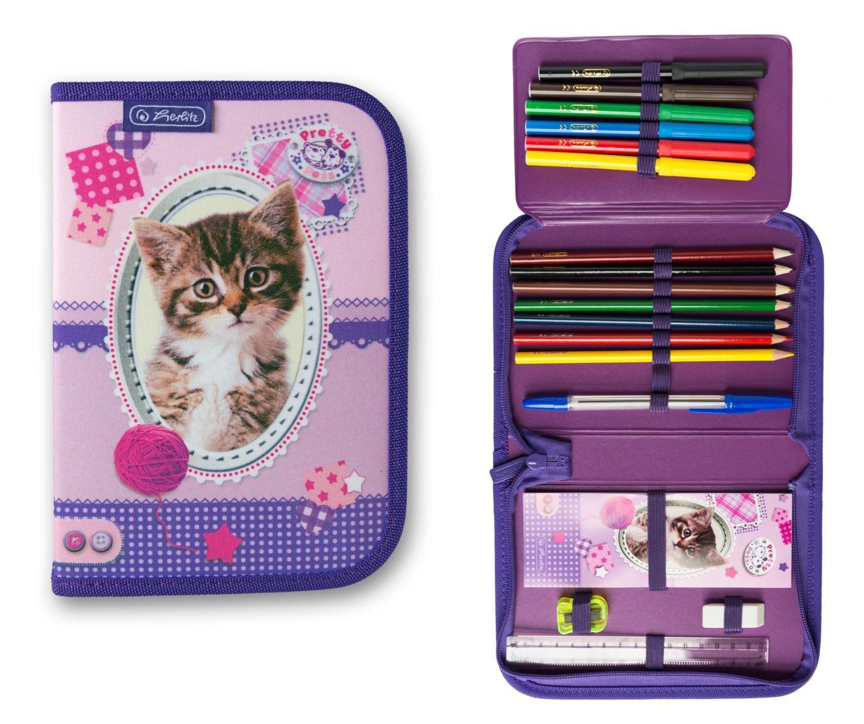 Herlitz Pretty Pets - Estuche escolar (19 piezas), diseño de gato: Amazon.es: Oficina y papelería
