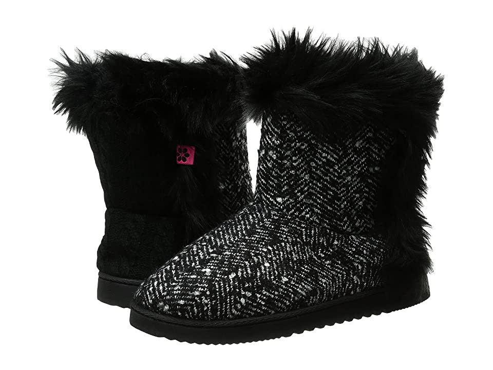 Foot Petals Technogel Boot Slipper (Black/White Tweed) Women's  Boots