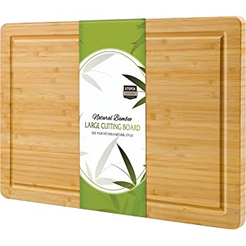 Utopia Kitchen Extra Large Organic Bamboo Cutting Board (17 x 12 inch) - Cutting Boards for Meat and Chopping Vegetables