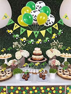 Baby Shower Decorations for boy,John Deere,Farm Birthday Party Supplies, Tractor Party Supplies, 12 pc Tractor Cupcake Topper,3 Cow Print Balloons Plus 3 Yellow and 3green, It's A Boy Tractor Banner