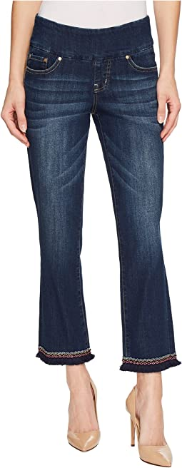 Peri Straight Pull-On Ankle Jeans w/ Embroidery