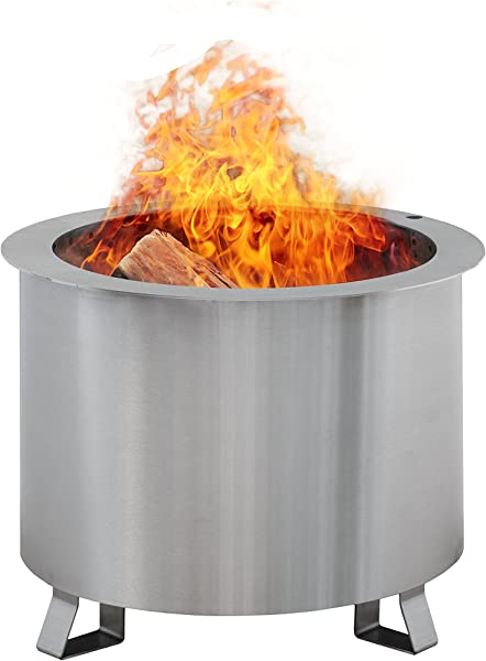 Double Flame Patio Fire Pit Wood Burning Smoke Less Portable Stainless Steel Fire Pit For Backyard Made In America