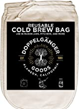 """(2-Pack) Organic Cotton Cold Brew Coffee Bag - Designed in California - Reusable Coffee Filter with EasyOpen Drawstring Cold Brew Maker for Pitchers, Mason Jars, Toddy Systems (Medium 8"""" x 12"""")"""