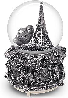 لعبة الكرة الأرضية الموسيقية سنو من QTKJ باريس مع أضواء LED متغيرة الألوان، كرة ثلجية على شكل برج إيفل بقاعدة ميري جولد، ب...