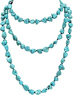 Turquoise Beads Endless Necklace Long Knotted Stone Multi-Strand Layer Necklaces Handmade Jewelry