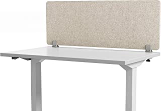 """VaRoom Acoustic Desktop Privacy Divider, 48""""W x 18""""H Sound Absorbing Clamp-on Cubicle Desk Divider Partition Panel in Tan Tackable Fabric"""