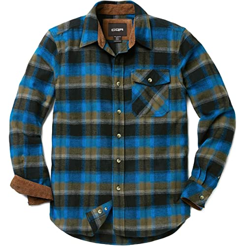 eac0e1cd8e CQR Men s Flannel Long Sleeved Button-Up Plaid 100% Cotton Brushed Shirt  HOF110