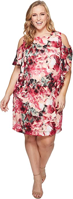 Plus Size Cascade Ruffle Printed Shift Dress
