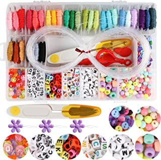 Handcrafted DIY Bracelet Making Beads Kit,Hand-Make Necklaces Letter Beads Colorful,WEEFUN 30 Multi-Color Embroidery Floss