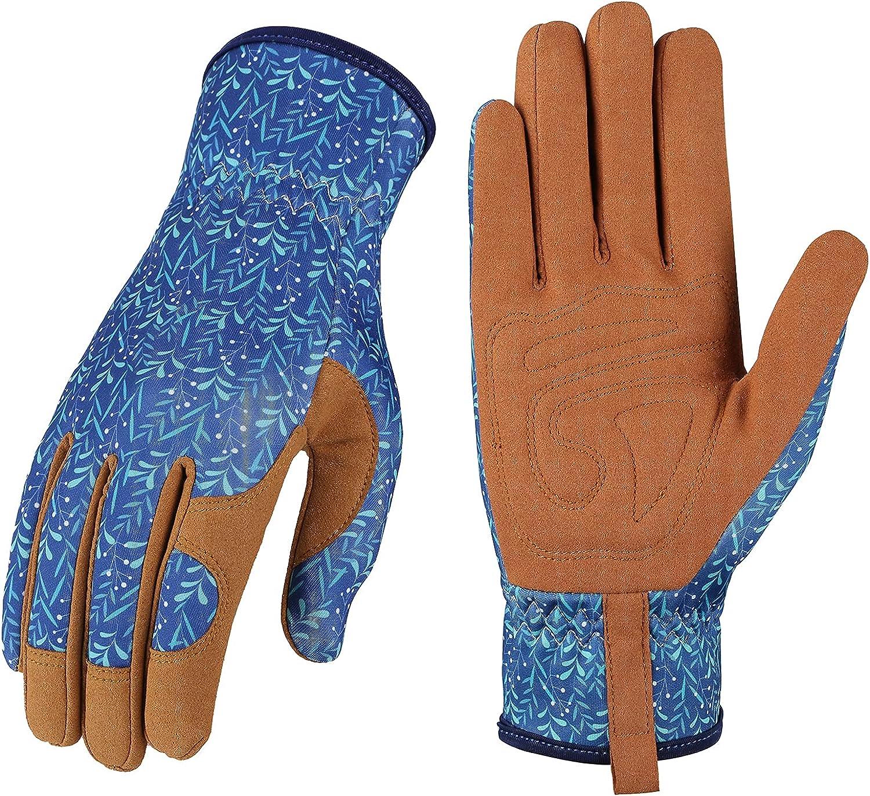 Leather Gardening Gloves for Women - Working Gloves for Weeding, Digging, Planting, Raking and Pruning