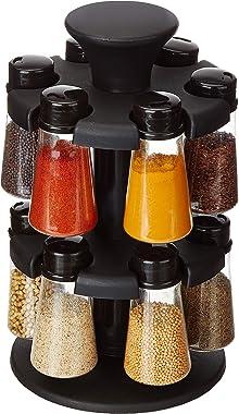 Amazon Brand - Solimo Upright Revolving Plastic Spice Rack, 12 Pieces