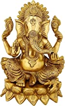 Brass Statue Lord Ganesha Religious Puja 11 inch Large,Weight-5.5/Indian Brass Statue Large Ganesh Idol Figurine Elephant ...
