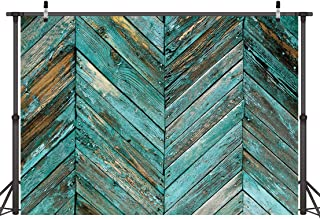 LYWYGG 7x5ft Thin Vinyl Photography Backdrops Old Green Skew Wood Floor Backdrop Newborn Photo Background for Photo Booth Studio Props CP-20