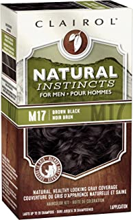 Clairol Natural Instincts Semi-Permanent Hair Color For Men, M17 Brown Black Color, 3 Count