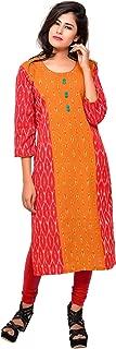 RESHA Red mustard yellow cotton ikat women's straight kurta