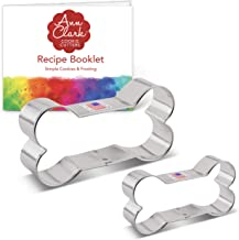 Ann Clark Cookie Cutters 2-Piece Dog Bone Cookie Cutter Set with Recipe Booklet, 2""