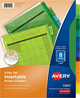 Avery Big Tab Insertable Plastic Dividers, 8 Multicolor Tabs, Case Pack of 24 Sets (11901)