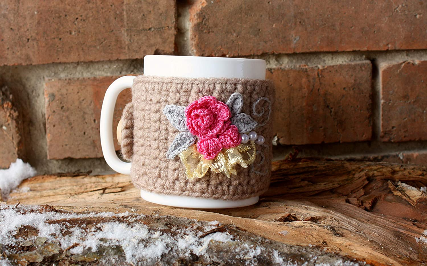 Crochet mug cosy with roses cozy 2021 35% OFF new coffee beige cos