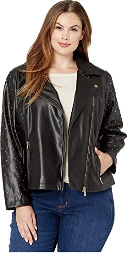 Plus Size Moto Jacket with Stud Sleeve