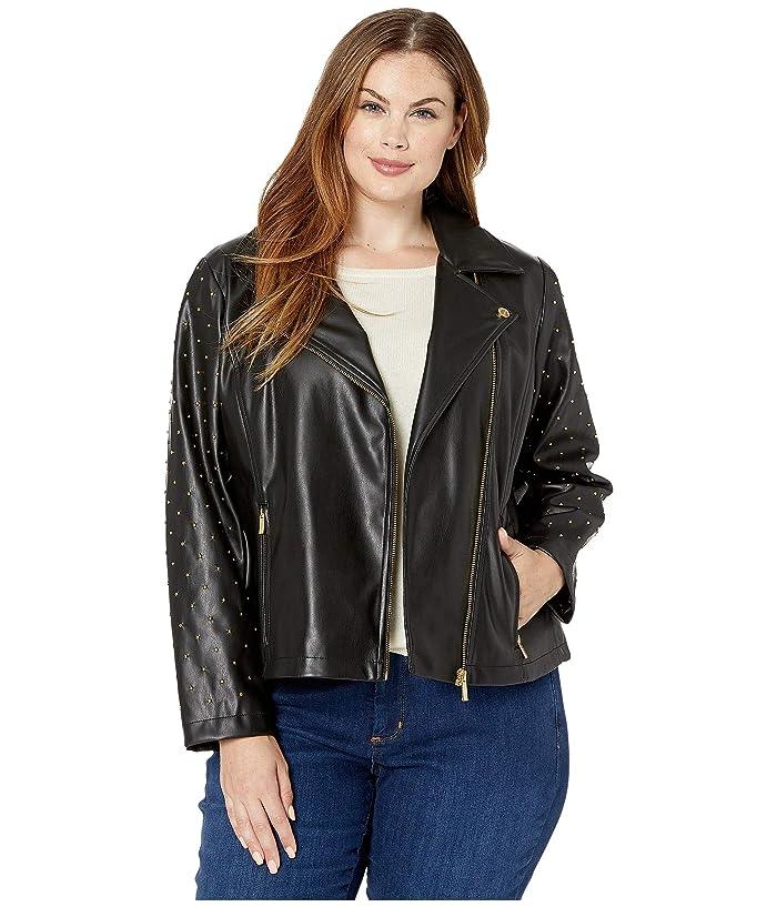 Plus Size Moto Jacket with Stud Sleeve (Black) Women's Coat