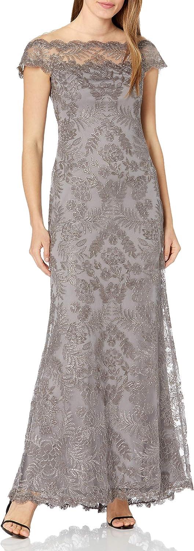 Tadashi Shoji Women's Corded Lace Illusion Neck Gown