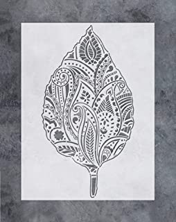 GSS Designs Leaf Wall Decor Stencil - Large Mandala Leaf Stencil (12x16 Inch) for Painting & Craft - Wall Furniture Floor Fabric Wood Stencils -Reusable Template for Wall Decals Transfer(SL-042)