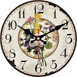 ShuaXin Wall Clock Classic Flower Country Style Round Wooden Clock (6