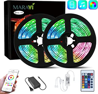 LED Strip Lights, Maravi 32.8ft/10M RGB WiFi LED Light Strip 5050SMD Color Changing LED Strip Lights with Remote,Sync to Music RGB Rope Light with Alexa & APP Controller for Home DIY Decoration