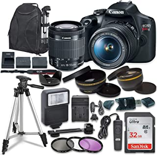 Canon EOS Rebel T7 Digital SLR Camera with Canon EF-S 18-55mm Image Stabilization II Lens, Sandisk 32GB SDHC Memory Cards,...