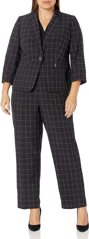 Le Suit Women's Plus Size 1 Button Notch Collar Windowpane Pant Suit with Zipper Pockets