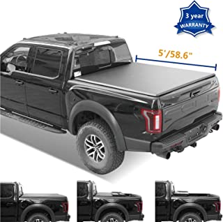 Neutron 5ft (58.659.5inches) Soft Tri Fold Truck Bed(Not for Track Sys. & Roll Bar) for 2005-2019 Nissan Frontier & 2009-2012 Suzuki Equator Tonneau Cover+LED Lamp+Install Instruction+Waterproof Tape