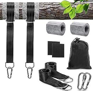 LOVEXIU Correas de Hamacas para Exteriores 150cmx2, Hamacas Correas Cuerdas con Cojines de protección de árboles y Mosquet...